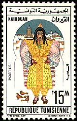 Subject  Regional Costumes: Kairouan  Number  782  Size  22,5x37,5 mm  Issue Date  01/06/1963  Number issued  500000  Serie  ordinary  Printing process  Helio-engraving  Value  15 millimes  Drawing  Jalel BEN ABDALLAH