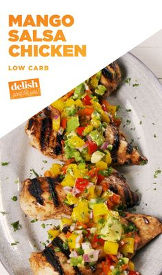 Mango Salsa Chicken Is The Perfect Summer Dinner from Delish Summer Entrees, Summer Recipes, Mango Salsa Chicken, Mango Salsa Recipes, Cooking Recipes, Healthy Recipes, Grilling Recipes, Grilling Ideas, Juice Recipes