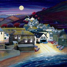 Port Isaac Moonlight by artist Gilly Johns Port Isaac, Bath Art, Naive Art, Landscape Art, Traditional Art, Pretty Pictures, Illustration Art, Illustrations, Watercolor Paintings