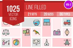 1025 Line Filled Icons by IconBunny on @creativemarket