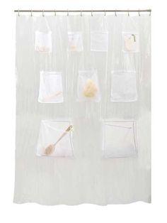 Creative Bath Products Pockets Clear Vinyl Shower Curtain 70 X 72 Vinyl Shower Curtains, Shower Storage, Shower Liner, Pocket Organizer, Bathroom Organization, Bathroom Ideas, Bathroom Accessories Sets, Gadgets And Gizmos, Bathroom Fixtures
