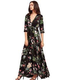 Bohemian Retro Ethnic Style Holiday Wind V-neck Loose Long Dress