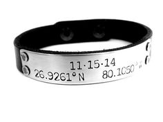 Latitude & Longitude with Date Custom Men's Or Women's Black Leather Bracelet. GPS Coordinate Bracelet. Matching Couples Jewelry.
