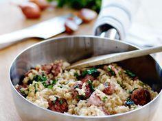 Risotto con salsiccia (risotto med kryddstark korv)