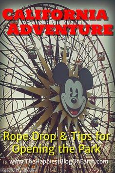 Opening California Adventure, rope drop at California Adventure. Save time with your morning plan for California Adventure!