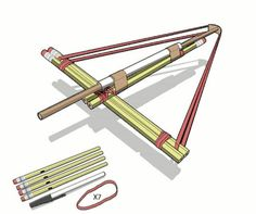 Take your spitball firepower to the next level with this guide for constructing a No. 2 Pencil Crossbow, one of many undersized armaments found in John Austin& must-read new book Mini Weapons of Mass Destruction. Pencil Crossbow, Diy Crossbow, Crossbow Hunting, Crossbow Arrows, Homemade Crossbow, Hunting Gear, Office Warfare, Do It Yourself Upcycling, Papier Diy
