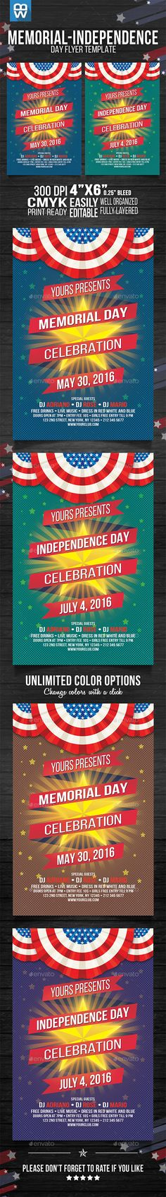 Independence Day \/ Memorial Day Flyer Template Flyer template - independence day flyer
