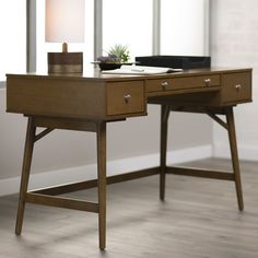 shop joss main for your bryant writing desk the mid century desk will be a welcome addition to your home office with its rich walnut finish and a work baybrin rustic brown home office small