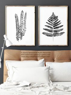 Fern Illustration set of 2 Ferns Black White and Grey Poster. Minimalist Watercolour Art Print. Abstract Botanical Charcoal Drawing. Fern Leaf Living Room Ink Decoration. A price is for the set of 2 Fern Art Prints as in the first Picture.  Type of paper: Prints up to (42x29,7cm) 11x16 inch size are printed on Archival Acid Free 270g/m2 White Watercolor Fine Art Paper and retains the look of original painting. Larger prints are printed on 200g/m2 White Semi-Glossy Poster Paper.  Col...