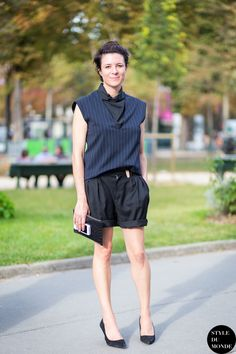 pinstripes & shorts. Garance in Paris. #GaranceDore
