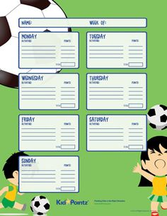 Many excercise charts for kids and teens are available to print for free.