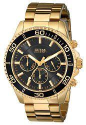 GUESS Men's U0170G2  Sporty Black Dial Gold-Tone Chronograph Watch