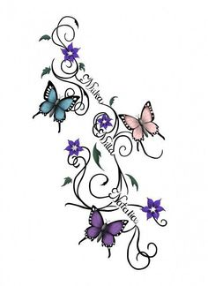 Butterflies And Flowers Vine Tattoo Design With Name