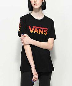 cfcb59b7807 Vans Black Gradient Checker T-Shirt
