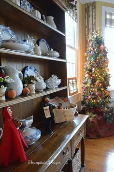 Blue and white transferware blends with Christmas decorating