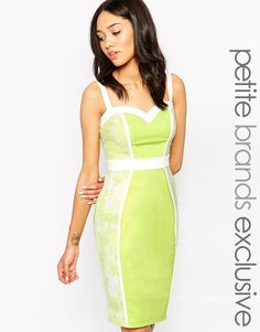 Paper Dolls Petite Sweetheart Neckline Pencil Dress With Lace Panels