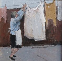 """Washing Day"" - Malcolm Taylor Painting People, Artist Painting, Figure Painting, Acrylic Paintings, Venus Tattoo, Laundry Art, Oil Portrait, City Scene, Contemporary Paintings"