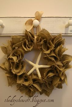 DIY Burlap Starfish Wreath Tutorial at diyshowoff.com
