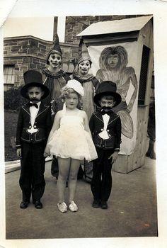 Kids in their vintage halloween costumes