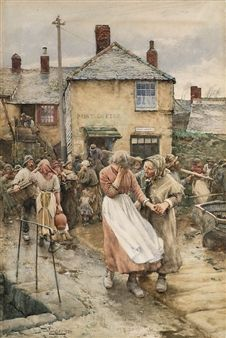 Among the Missing - A Scene in a Cornish Fishing Village By Walter Langley
