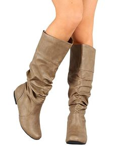 9f264710f456 Ermonn Womens Mid Calf Slouch Boots Faux Leather Low Stacked Heel Fall  Riding #fashion #