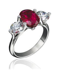 "PLATINUM OVAL RUBY & DIAMOND ENGAGEMENT ""TWINSET"" RING"