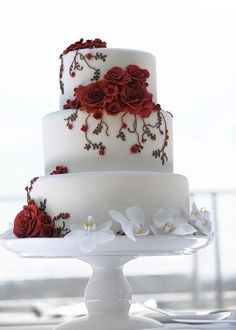 Fondant wedding cake.  If some one knows the creator of this please post.