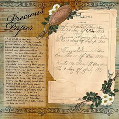 scrap genealogical treasures like the family Bible ~ no photos required for a great page. by elvia Heritage Scrapbook Pages, Vintage Scrapbook, Scrapbooking Layouts, Digital Scrapbooking, Family History Book, Old Family Photos, Family Genealogy, Album Photo, Bible