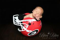 Newborn baby in a football helmet, Thea Ellenberg, Stylized Newborn, Maternity, and Family Photography Athens GA