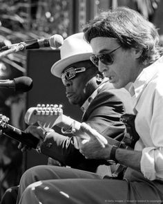 John Lee Hooker and Ry Cooder performing at the Bread & Roses Festival held at the Greek Theater in Berkeley on September 8, 1990.