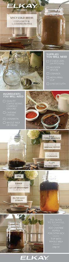 How to make spicy cinnamon and cayenne pepper cold brew coffee.  Savory and scrumptious, this easy step by step recipe bursts with spicy flavor. You'll need coarsely ground coffee beans, cayenne pepper, cinnamon and whole milk, or a cream of choice. Enjoy!