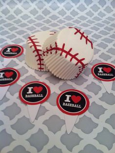 Baseball Love Cupcake Toppers and Liners