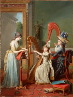 Mademoiselle d'Orléans Taking a Harp Lesson Jean Antoine Théodore Giroust (French, Oil on canvas. Dallas Museum of Art. Giroust's large and elegant conversation piece à l'anglaise is a masterpiece of portraiture at the start. Louis Seize, Saint Aubin, Christmas Paintings On Canvas, Protest Art, Mademoiselle, First Art, Painting For Kids, Musical, New Art