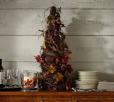 Faux Pomegranate & Pinecone Topiary #potterybarn