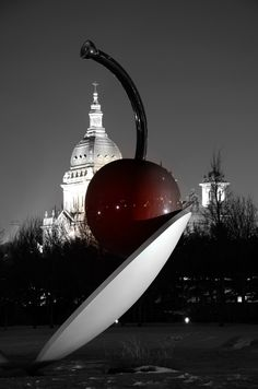 Basilica and Cherry Sculpture in Minneapolis, Minnesota ~ Photo by...Ren of Mpls©