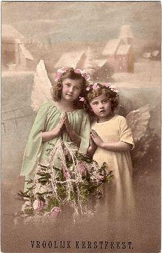 Merry Christmas Dutch VROOLIJK KRRSTFEST     Vintage Postcard ~