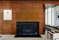 Upper West Side Apartment, NYC  Photographer: Stephen Smith-Imaginare Co. Masonry wood-burning fireplace by Halsted Welles, Noir St. Laurent stone surround from ABC Stone.