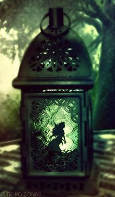 Tinkerbell  trapped by Captain Hook.  It would be cute to cut out a silhouette of Tink and put it in a lantern.