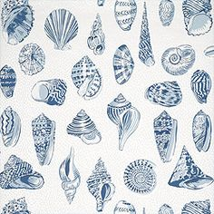 Monterey Wallpaper & Fabric in Blue from the Seaside Collection by #Thibaut    #novelty #wallpaper #beach #nautical #coral #shell #vacation #clam #conch #blue