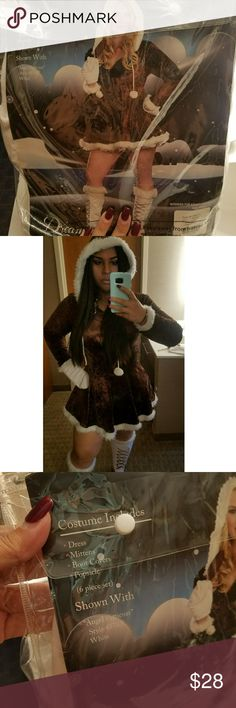 """Dreamgirl """"Eskimo Cutie"""" Costume Eskimo cutie costume, mittens, boot covers & popsicle included.. One of the balls from hoodie is missing as seen in picture. Size 1x/2x 165lbs-225lbs. Dreamgirl Dresses Mini"""