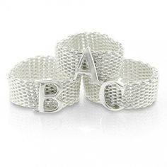 Bling Jewelry Sterling Silver Alphabet Letter S Mesh Ring