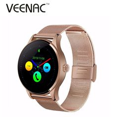57.35$  Buy now - http://alirot.worldwells.pw/go.php?t=32733207924 - Heart Rate Monitor K88H Round Bluetooth Smart Watches Clock Classic Health Metal Smartwatch Montre Connecter for Android ISO