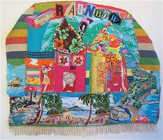 UNDER THE RAINBOW  Tropical Beach Cottage Chic Altered Fabric Collage Assemblage Art    My Bonny