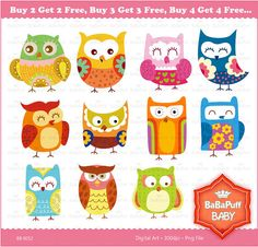 11 Cute Owls Clip Art ---- Personal and Small Commercial Use ---- AA 0052