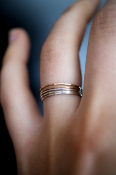 14kt Yellow Gold-filled and Sterling Silver set of 5 Ultra Thin Stacking rings