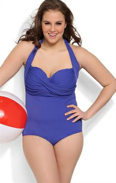 Plus Size Royal Blue Halter One Piece Swimsuit with Twist Front Plus  Swimwear 93db9f17f