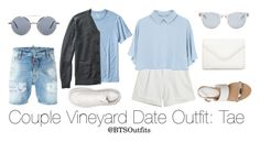 Couple Vineyard Date Outfit: Taehyung by btsoutfits on Polyvore featuring polyvore, fashion, style, Chicnova Fashion, Office, Neiman Marcus, Sun Buddies, Thom Browne, TravelSmith, Dsquared2, Banana Republic, Alexander McQueen and clothing