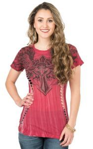 Affliction Women's Red River Wash with Black Designs Short Sleeve Casual Knit | Cavender's