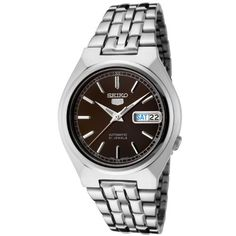 Seiko Mens SNK305K Seiko 5 Automatic Brown Dial Stainless Steel Watch -- More info could be found at the image url.