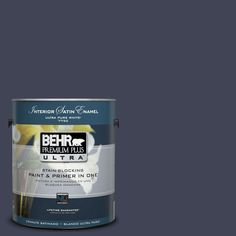 BEHR Premium Plus Ultra 1-Gal. #UL240-1 Black Sapphire Interior Satin Enamel Paint